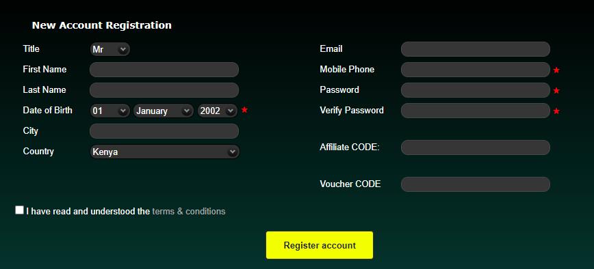 SaharaGames New Account Registration