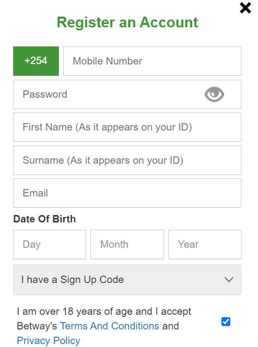 Betway Register